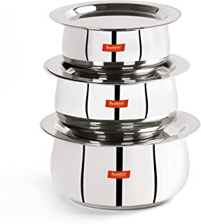 Sumeet Stainless Steel Belly Shape 3 Pc Tope / Cookware/ Pot Set with Lid 380ML, 500ML, 780ML, (Silver)