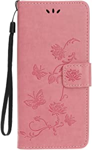 Reevermap Honor 9X  Huawei Honor Pro Case Flip Cover Leather Wallet Lotus Butterfly Embossed Magnet Card Slot Stand Silicone Bumper Shockproof Case for Honor 9X  Huawei Honor Pro Pink