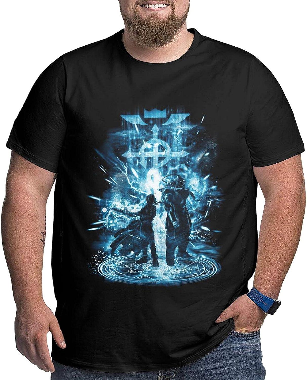 Fullmetal Alchemist Brotherhood Storm Male Shirt Casual Short Sleeve Plus Size Cotton Tops