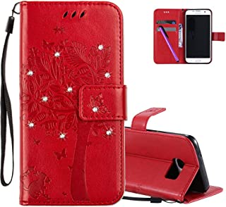 Car Electronics & Accessories COOSTORE Cute Cat and Butterfly Embossing Premium PU Leather Kickstand Card Slot Magnetic Closure Flip Wallet Case,Rose Red Galaxy S9 Plus Case