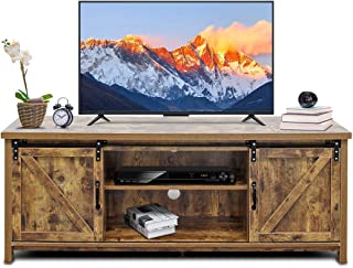 Bizzoelife Barn Door TV Stand Media Console Table, 60 Inches Sliding TV Cabinet Entertainment Center (Rustic)