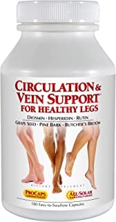 Andrew Lessman Circulation Vein Support for Healthy Legs 180 Count – High Bioactivity Diosmin Natural Oxidants Butcher's Broom Visibly Reduces Swelling and Discomfort in Feet, Ankles, Calves and Legs