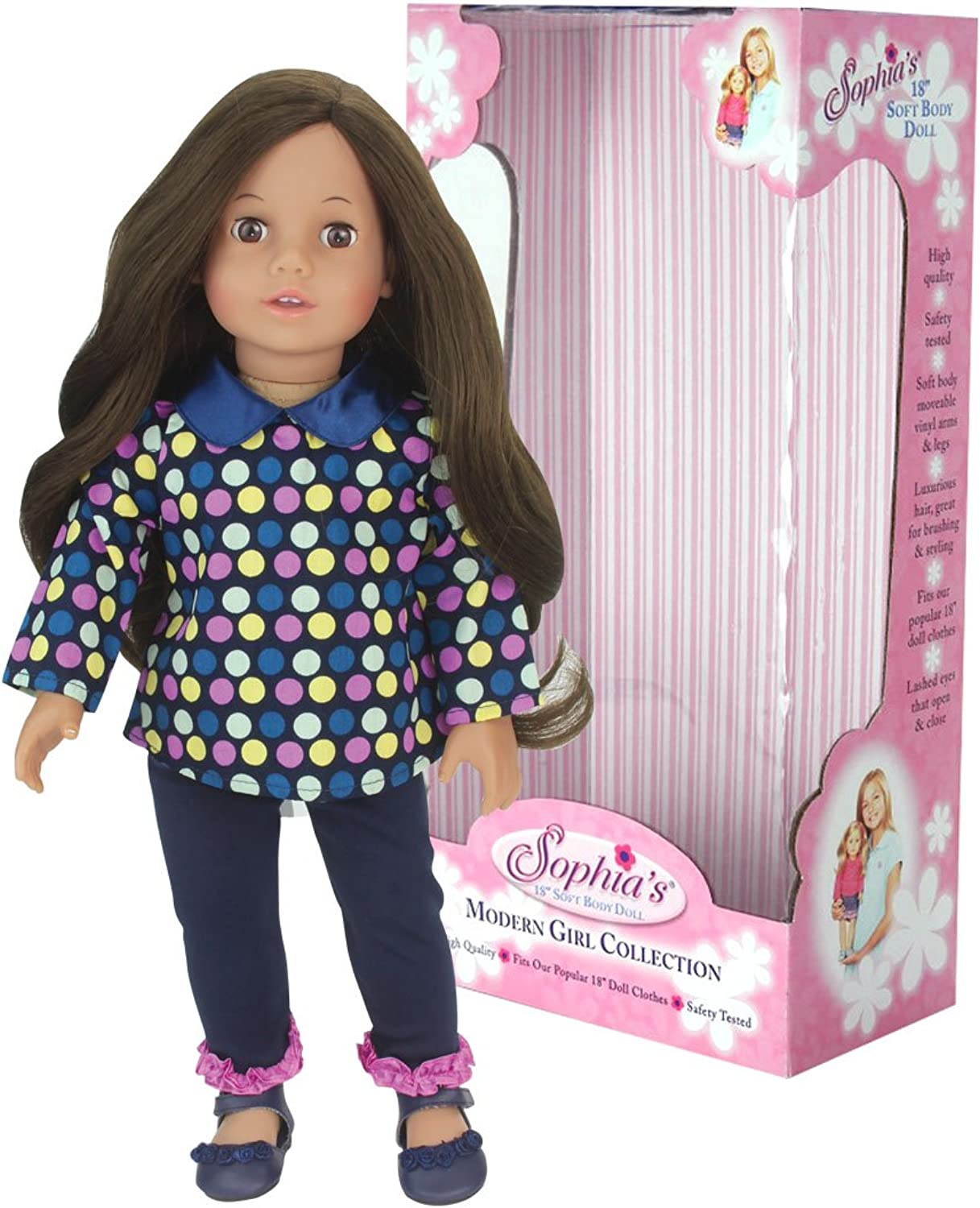 18 Inch Doll Catherine, 18  Brunette Doll, Jointed Arms Legs & Soft Body