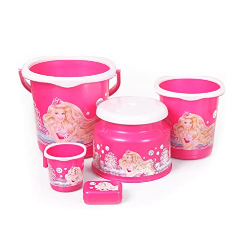Cello Barbie 5 Piece Plastic Bathroom Set, Pink