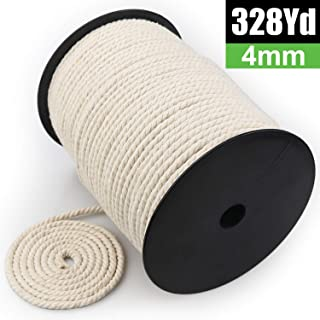 Macrame Cord 4mm x 328Yards | 100% Natural Macrame Rope | 3 Strand Twisted Cotton Cord for Wall Hanging, Plant Hangers, Crafts, Knitting, Decorative Projects | Soft Undyed Cotton Rope