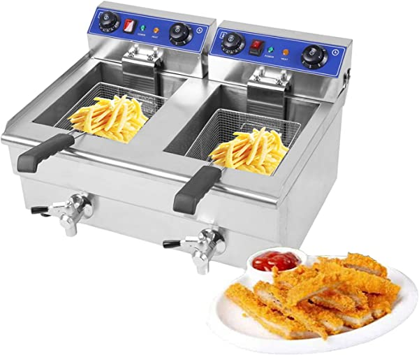 Blackpoolfa 26Liter Commercial Electric Dual Tank Stainless Steel Oil Fryer Deep Fat Fryer Electric Deep Fryer With Timer Temperature Control Viewing Window Silver