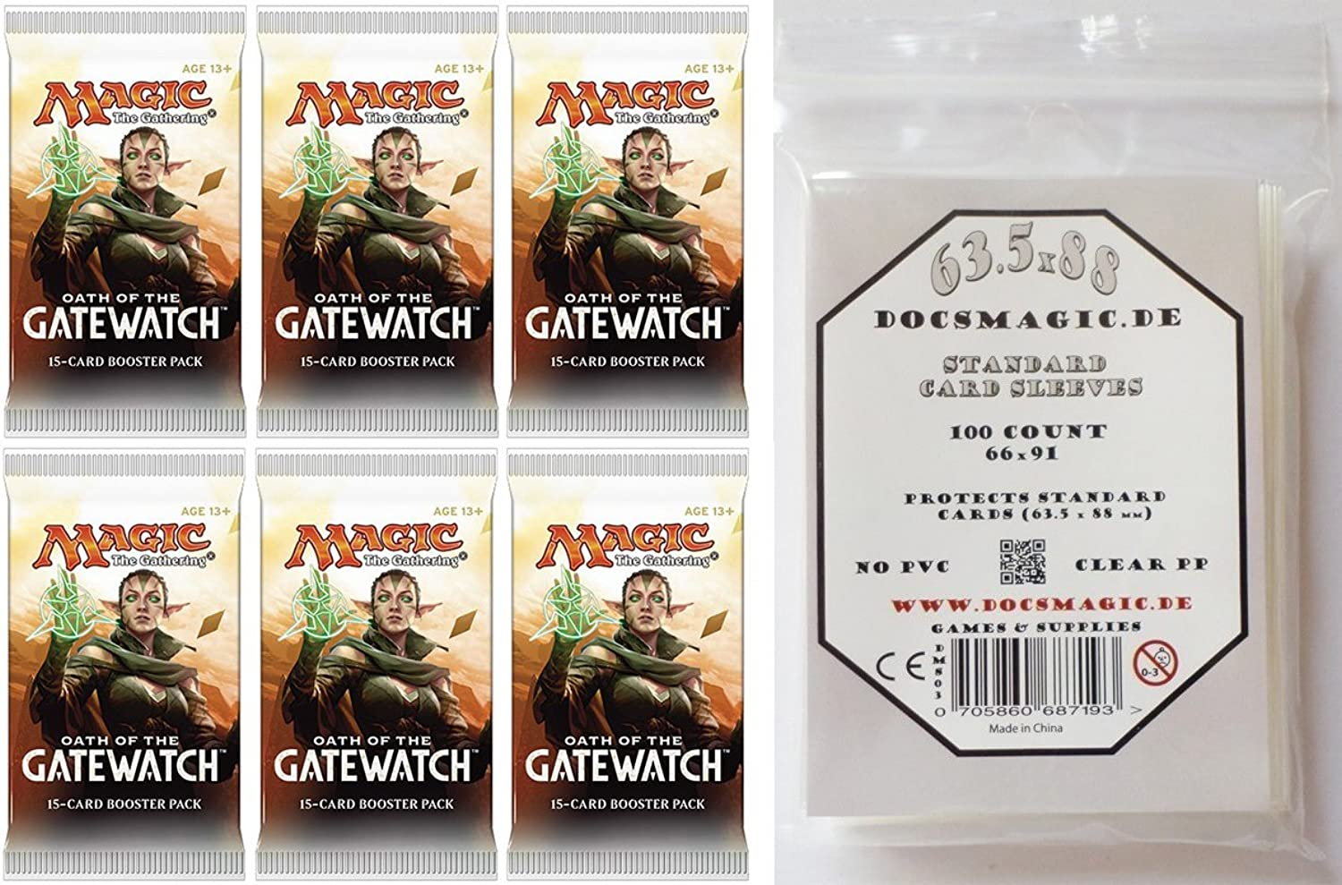 6 x Oath of the Gatewatch Booster Pack - inglese + 100 Docsmagic  autod gioco Sleeves - Magic  The Gathering