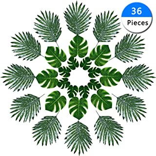 36 Pieces Artificial Monstera Plant Leaves Home Decorations Hawaiian Safari Jungle Beach Theme BBQ Party Decorations Supplies