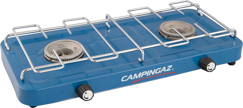 Campingaz Base Camp, posibilidades de cocción variadas con 2 placas, hornillo de gas de 2 llamas de potencia 2 x 1600 W, unisex, azul, talla única