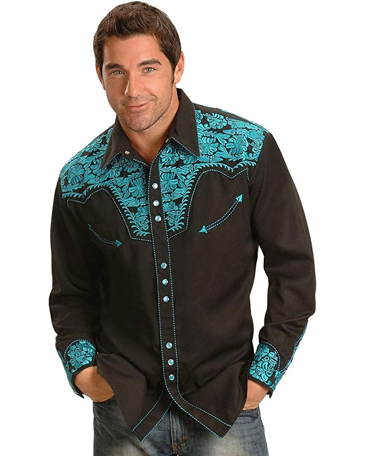 Scully Men's Floral Tooled Shirt