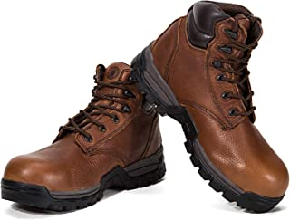 ROCKROOSTER Work Boots for Men, Composite Carbon Toe, W/P Non-Slip Safety Leather Shoes, Oiled Boot, Arch Support, Puncture Resistant, Quick Dry, EH, AT697PRO