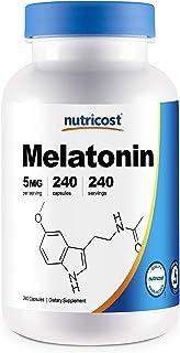 Nutricost Melatonin 5mg, 240 Capsules - 5mg Per Serving, Non-GMO, Gluten Free