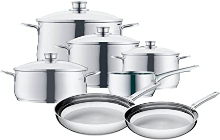 WMF 8400001725 11 Piece Stainless Steel Cookware Set, Silver