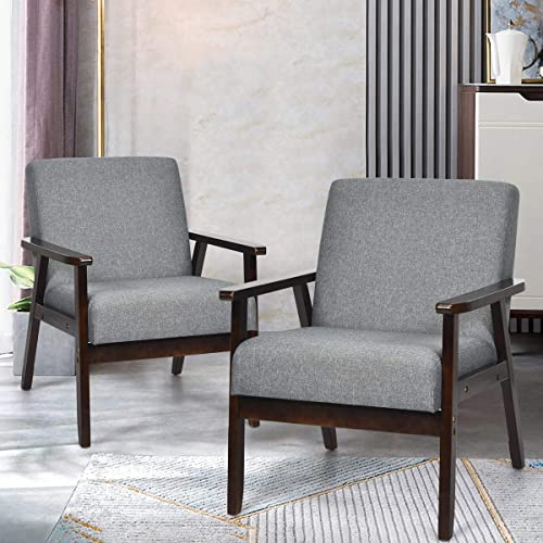 lowest Giantex Set of popular 2 Mid-Century Modern Accent Chair, Retro Fabric Armchair, Solid Hardwood Made, Upholstered Linen high quality Lounge Arm Chair for Living Room (Dark Grey) online