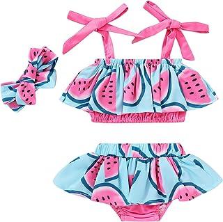 YOUNGER TREE Toddler Baby Girl Swimsuit Cute Lemon Two Piece Strap Swimwear Bathing Suit with Headband Summer Bikini Set