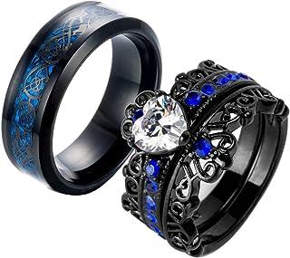 Ringcrown Couple Rings Black Plated Heart Blue Cz Womens Wedding Ring Sets Crown Ring Titanium Man Wedding Bands(Please Bu...