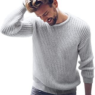 ainr Men's Casual Basic Pullover Long Sleeve Round Neck Knit Wool Sweater T-Shirts