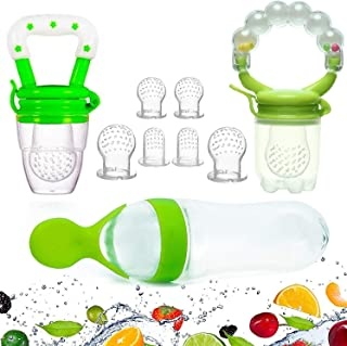 Gedebey Baby Food Feeder, Pacifier Fruit- Fresh Silicone Bottle Squeeze Spoon Frozen Fruit Teething Pacifiers Nibbler Hygi...