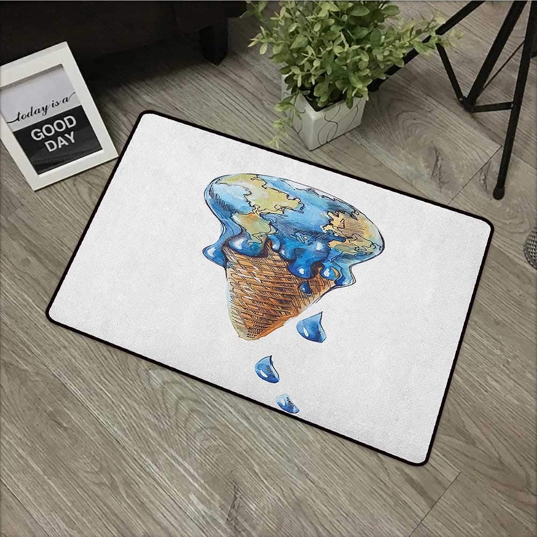 Bathroom Door mat W35 x L59 INCH Ice Cream,Ice Cream with Globe Planet Earth Flavor Ecological Graphic Print, Pale Caramel purple bluee Non-Slip Door Mat Carpet