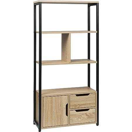WOLTU RGB09hei Étagère de rangement avec armoire et tiroirs,étagère de cuisine étagère de bureau en métal et MDF 58x24x120cm,Chêne clair