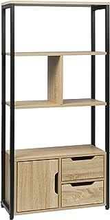 WOLTU RGB09hei Étagère de rangement avec armoire et tiroirs,étagère de cuisine étagère de bureau en métal et MDF 58x24x120...