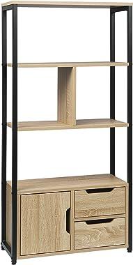 WOLTU RGB09hei Étagère de rangement avec armoire et tiroirs,étagère de cuisine étagère de bureau en métal et MDF 58x24x120cm,