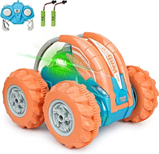 INVINZER Remote Control Car RC Stunt Car Toy 360°Flip Roll Back and Forth 4WD 2.4Ghz RC Toy Car with Colorful Lights for K...