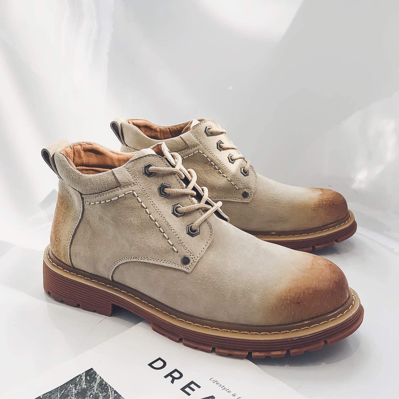 Shukun Men's boots Autumn Martin Boots Men'S High-Top Retro Boots Casual Boots Wild Pu Desert Tooling shoes