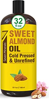 Pure Cold Pressed Sweet Almond Oil - Big 32 fl oz Bottle - Unrefined & 100% Natural - For Skin & Hair, with No Added Ingre...