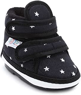 CHIU Unisex Chu with Double Strap Baby Boys & Girls Black Booties-24-28 Months (C02-Star-Black-8)