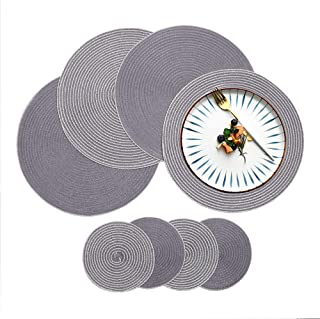 HiiARug Round Placemats with Coasters Set of 4 Gray, 15
