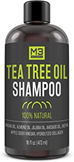 M3 Naturals All Natural Tea Tree Oil Shampoo Infused with Biotin Collagen and Apple Cider Vinegar Essential Oils for Dry Itchy Scalp Dandruff Sulfate Free Paraben Free For Men and Women 16 OZ