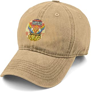 065cd6d7ff2ad Peace Love Hippie VW Bus Classic Vintage Jeans Baseball Cap Adjustable Dad  Hat for Women and