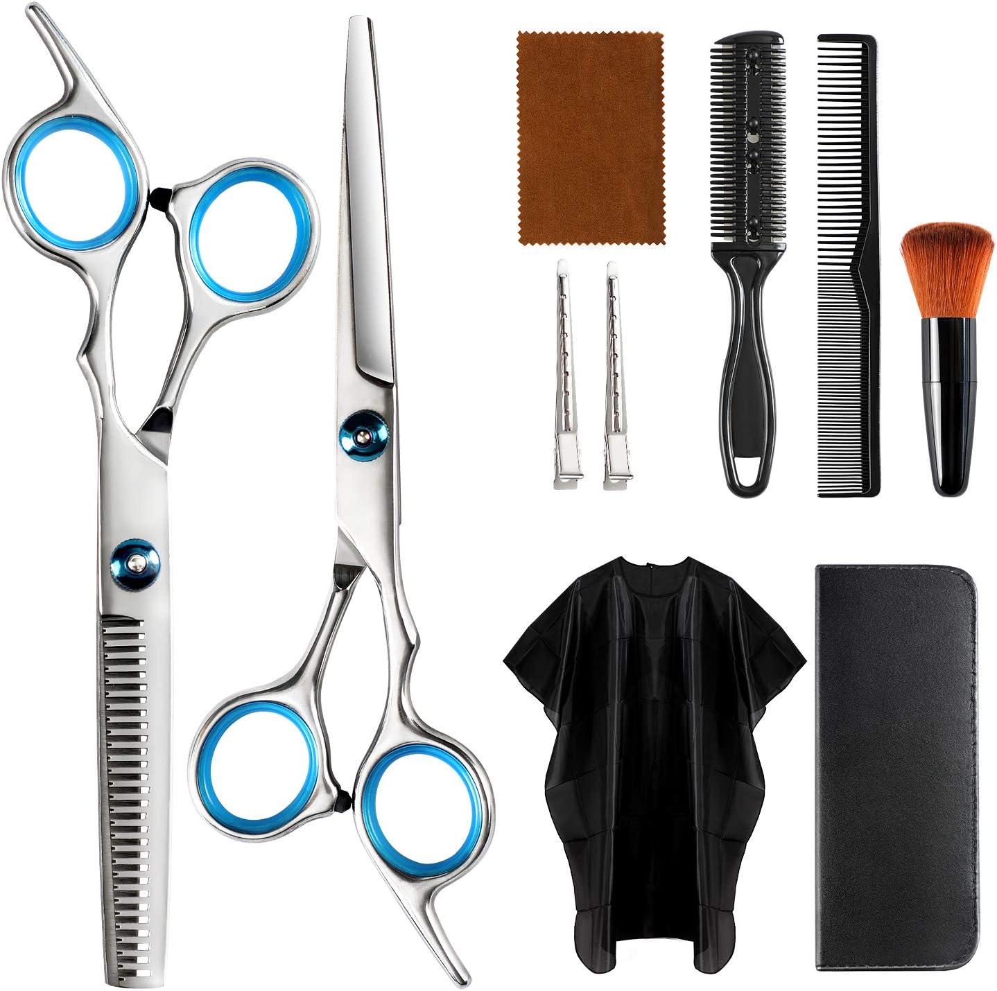 Hair Cutting Scissors Kit, Professional Barber Hair Cut Tools for Men Women Adults Kids Pet, Home Self Haircut Salon, Stainless Steel Thinning Shears, Razor Comb, Cape Cloak, Clips, Brush Set