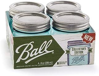 Ball Mason Jars 8 oz Regular Mouth Turquoise Colored Glass Bundle with Non Slip Jar Opener- Set of 4 Half Pint Size Mason Jars - Canning Glass Jars with Lids