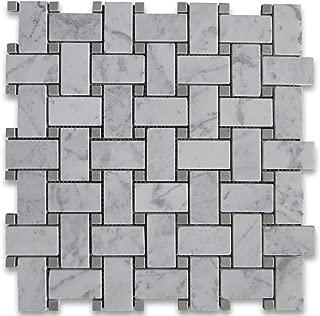 Carrara White Italian Carrera Marble Basketweave Mosaic Tile w/Light Gray Dots 1 x 2 Honed