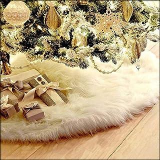 AOGU 48 Inch Faux Fur Christmas Tree Skirt White Plush Skirt for Merry Christmas Party Christmas Tree Decoration