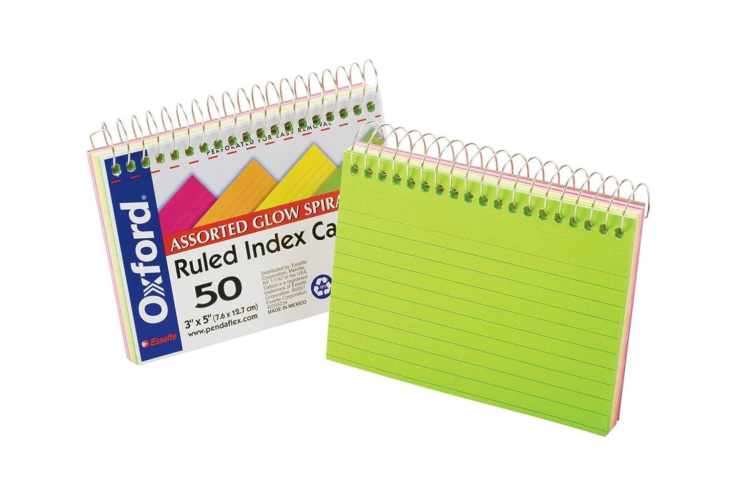 Oxford Spiral Bound Glow Index Cards, 3
