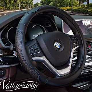 Valleycomfy Steering Wheel Covers Universal 15 inch - Genuine Leather, Breathable, Anti Slip & Odor Free (Black with Blue ...