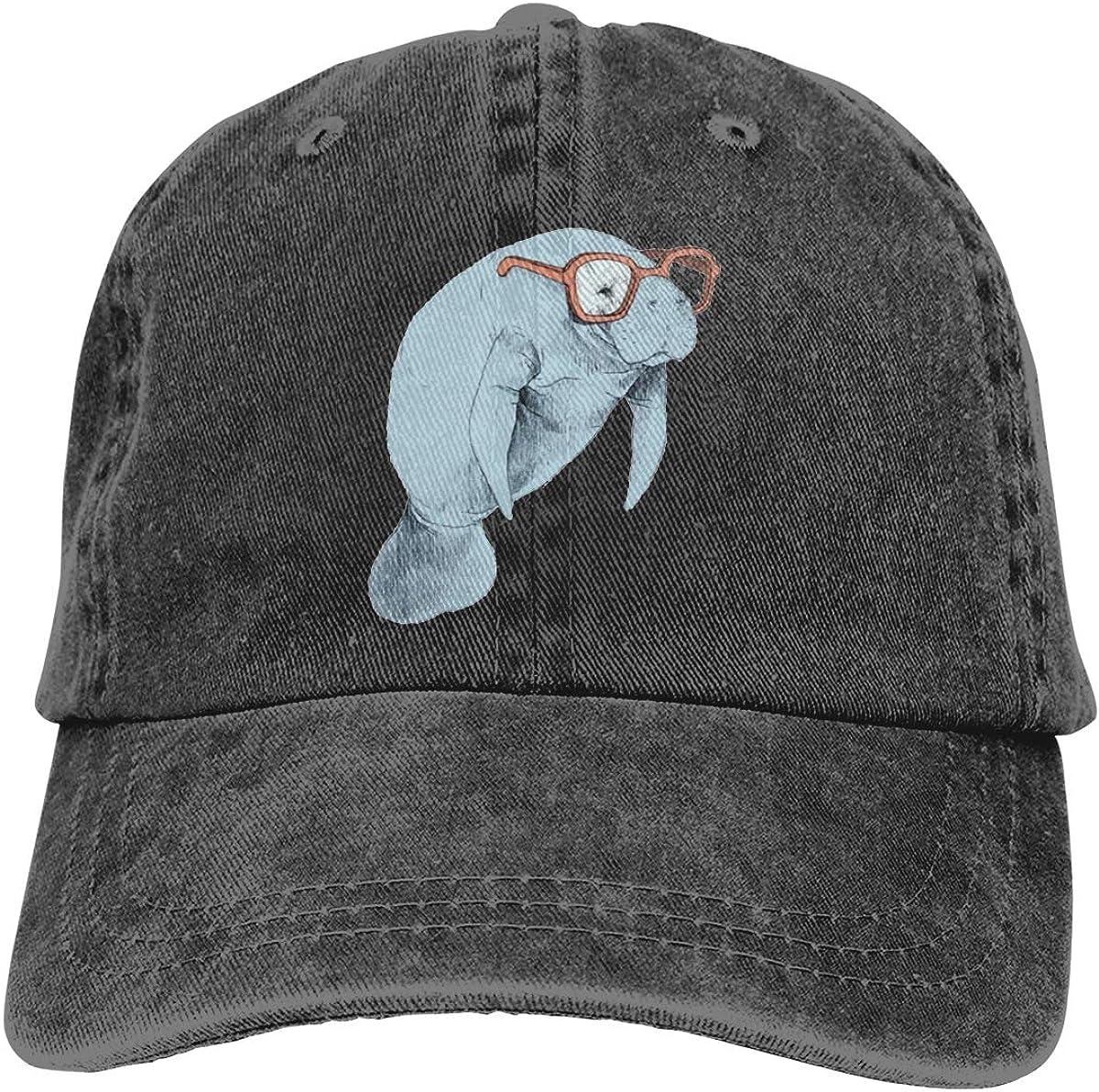 allgobee Washed Distressed Cotton Dad Hat Studious Manatee Baseball Cap Adjustable Polo Trucker Black