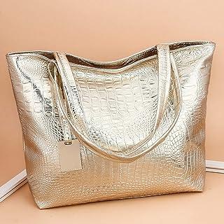Zilosconcy Handtasche Damen Krokodilhaut Drucken PU Umhängetasche Retro Reißverschluss Taschen Strandtasche mit Innentasch...