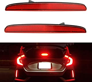 iJDMTOY Red Lens 24-SMD LED Bumper Reflector Lights For 2017-up Honda Civic Hatchback, SI or Type-R Sedan, Function as Tail, Brake Lamps
