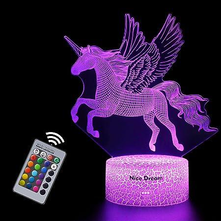 Veilleuse Licorne 3D pour Enfants, Fille Lampe LED USB Veilleuse Illusion, 16 Couleurs Changeantes avec Télécommande pour Enfants Adultes Cadeau d'anniversaire et de vacances (Licorne 2)