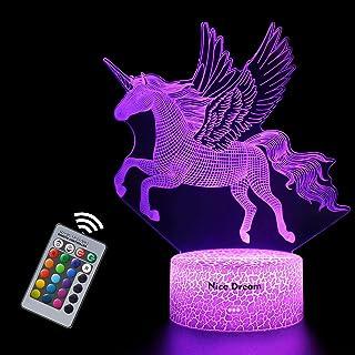 Veilleuse Licorne 3D pour Enfants, Fille Lampe LED USB Veilleuse Illusion, 16 Couleurs Changeantes avec Télécommande pour ...