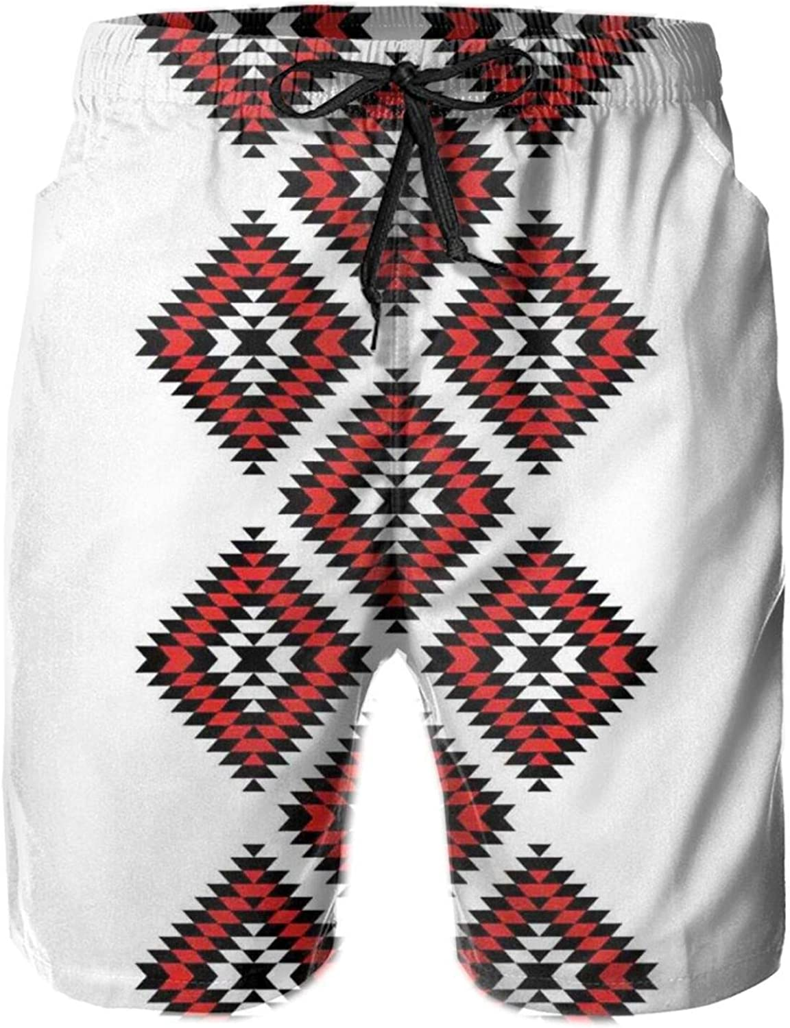 Native Design American Style Zig Zag Aztec Motifs with Ornaments Image Mens Swim Trucks Shorts with Mesh Lining,M