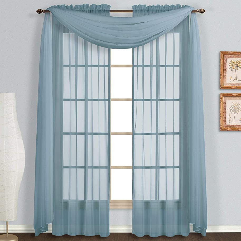 Avanti Home Elegance Solid Many Colors Window Scarf Valance Soft Sheer Voile Topper Swag Panel Curtain 37
