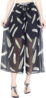 YiyiLai Women Wide Leg Loose Chiffon Plus Size Elastic High Waist Capri Pants