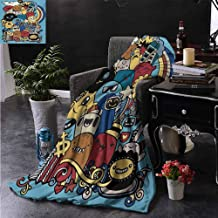 ZSUO Children's Blanket Cool Funny Cute Crazy Monster Universe Rainbow Stars Clouds Money Symbol Illustratio Weighted for Adults Kids, Better Deeper Sleep 30