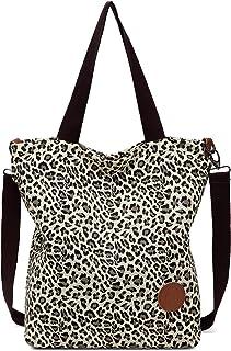 JANSBEN Damen Canvas Handtasche Schultertasche Casual Multifunktionale Umhängetaschen Groß für Arbeit Schule Shopper Lässi...