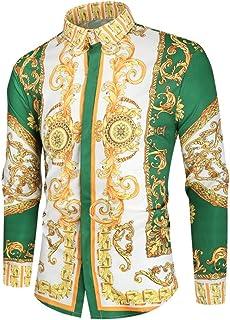 Luxury Royal Shirt Men Casual Slim Fit Long Sleeve Men Paisley Print Shirt Camisa Social Masculina Manga Longa Prom Party ...